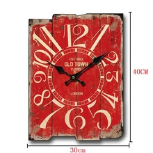 Meijswxj Clock Saat Relogio de parede Living room decorated wooden wall clocks Retro Creative Home Decoration Watch 30cm*40cm