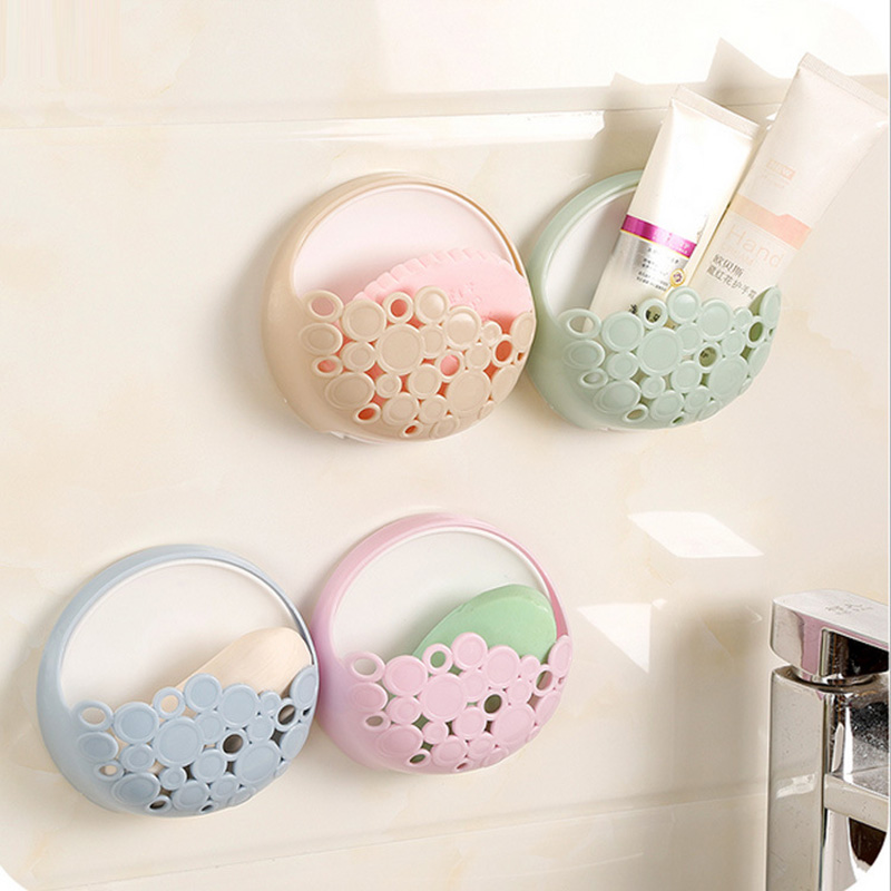 4color No-nail Multi-functional Sucker Soap Dish Bathroom Kitchen Wall-mounted Drain Suction Cup Hollow Soap Shelf Holder