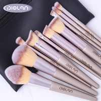 DIOLAN 10pcs Full Professional Makeup Brushes Sets & Kits Size Foundation Synthetic Hair Champagne Gold Brushes Pennelli Trucco