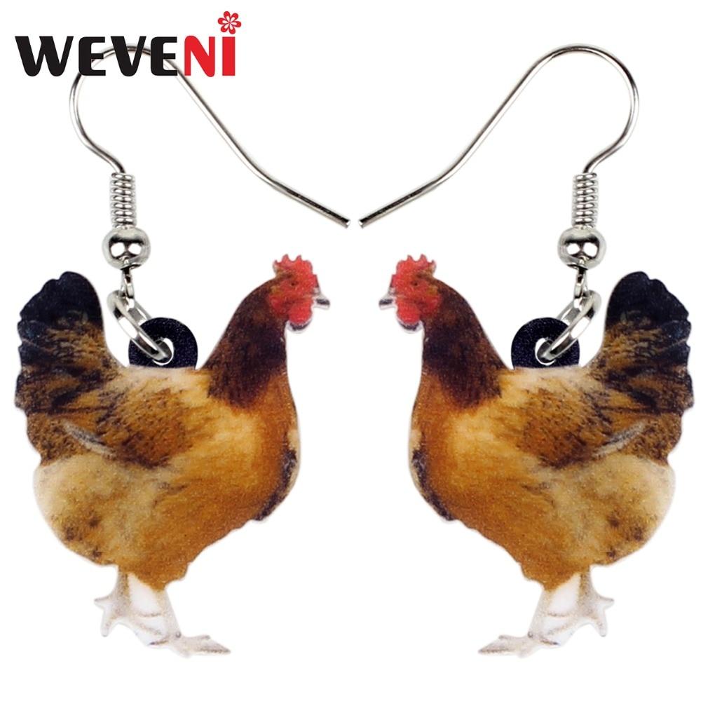 WEVENI Acrylic Floral Chicken Hen Earrings Big Long Dangle Drop Novelty Farm Fowl Jewelry For Women Girls Cartoon Animal Charms