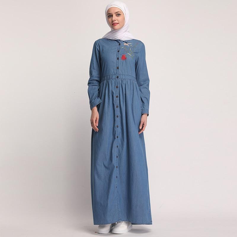 3b3e9c5a177b9 Vestidos Denim Kaftan Abaya Dubai Islam Hijab Muslim Dress Elbise Abayas  For Women Caftan Robe Turkish Islamic Arabic Dresses