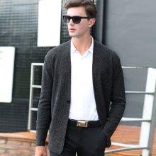 Gray Sweater Men 2017 Brand New Shawl Collar Sweater Slim Fit Mens Knitted Cardigans Sweaters Casual Para Hombre