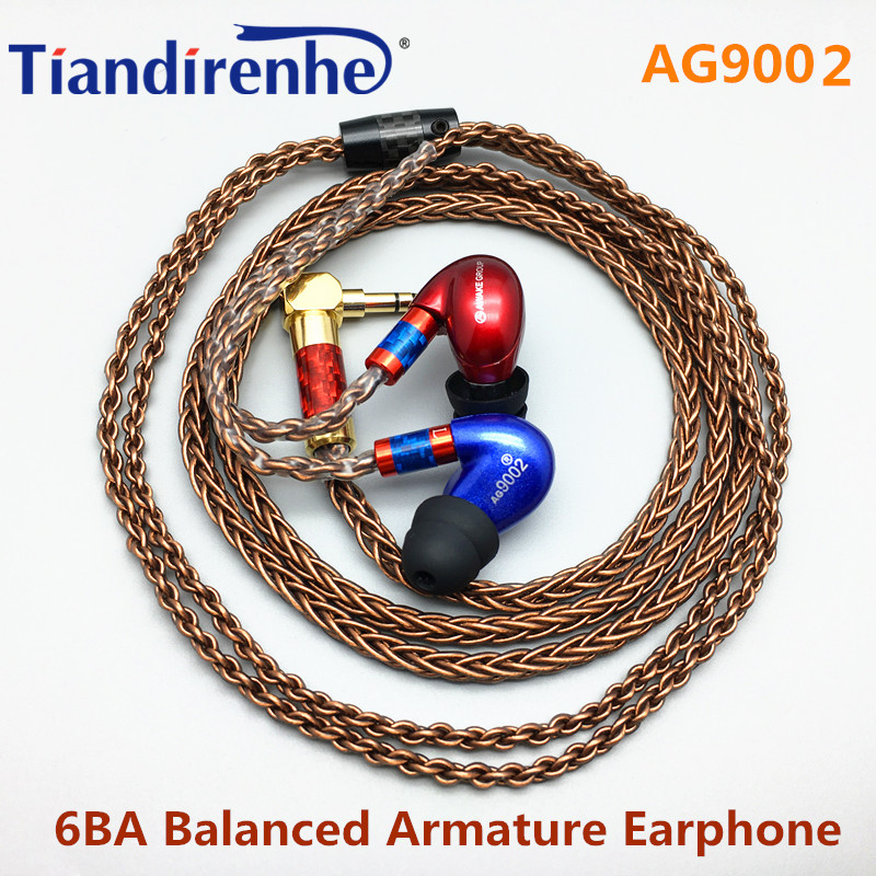 Tiandirenhe 6 Units 6BA Balanced Armature Earphone DIY Headset New Blue Red Color Custom Made Around Ear Headset MMCX Headphone