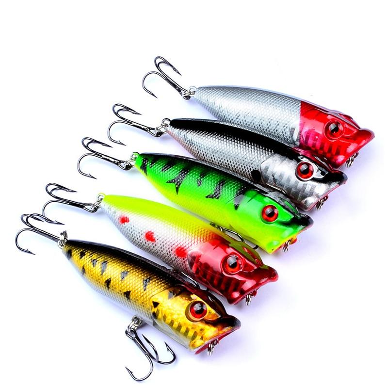 5 pc Fishing Baits Popper Bait 2.9 -7.3 cm / 0.39 oz-11g Fishing Bait Fishing 6 # High Carbon Steel Fishing Hook Face New