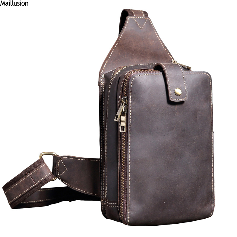 Maillusion Men Shoulder Bags Brand Handmade Cow Leather Men Chest Bag Vintage High Capacity Travel Pack For Male Crossbody Bag