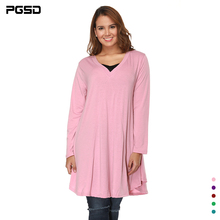 PGSD New Fashion Pure color simplicity long sleeve plus size V collar irregular Loose dress 5XL Women Casual short Dress Female fashionable round collar short sleeve artificial leather pure color dress for women page 3 page 5 href