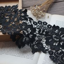 Lace Fabric Wide-1Yards/Lot 12CM Embroidered Black Venice Trim Elegent Wedding Polyester
