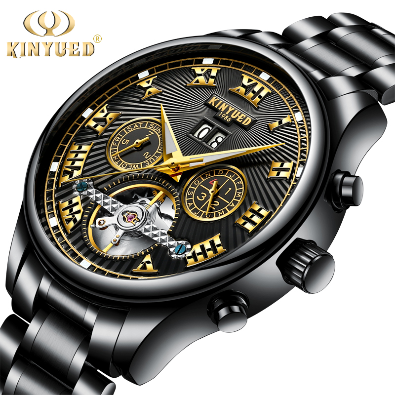 KINYUED Black Automatic Men Tourbillon Mechanical Watches Full Steel Luxury Skeleton Watch Self Wind Wristwatches Male