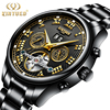KINYUED Automatic Self Wind Wristwatches Tourbillon Men Mechanical Watch Black Full Steel Skeleton Watches Luxury Male