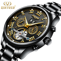 KINYUED черные Автоматические Мужские механические часы Tourbillon  полностью Стальные Роскошные часы-скелетоны  мужские наручные часы Reloj