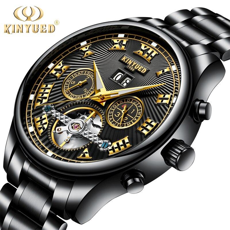 Relojes mecánicos de Tourbillon automático negro KINYUED para hombre, relojes de pulsera de lujo de acero con diseño de esqueleto, relojes de pulsera masculinos Guanqin automático Reloj Mecánico Tourbillon Esqueleto reloj de deporte impermeable reloj automático reloj hombre reloj masculino