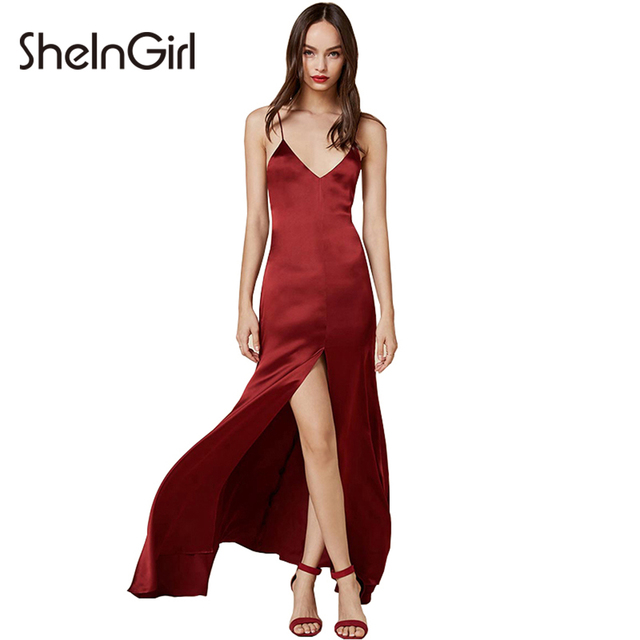 Shein 2017 Summer Y Wrap Slip Dress Women Red Front Split Party Slim Backless Bodycon