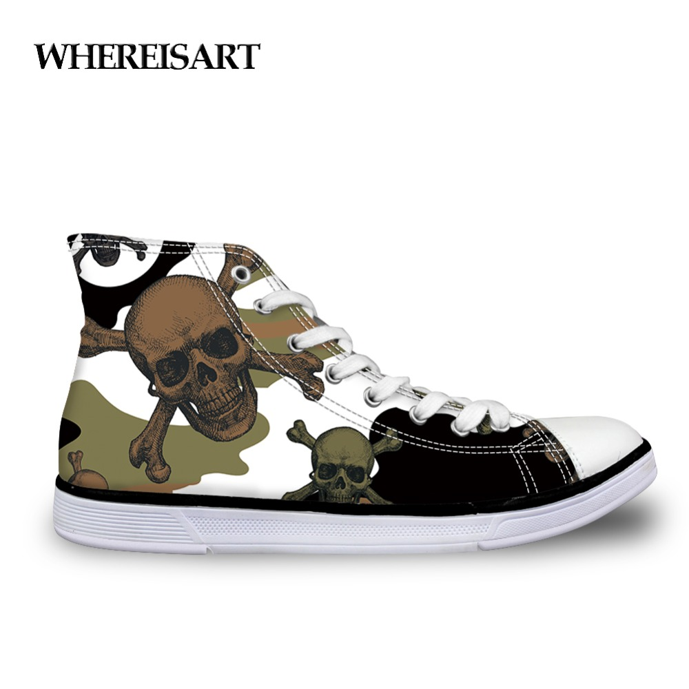 WHEREISART Camouflage Skull Shoes Men Casual Vulcanize Shoes Punk Skull Sneakers Classic High Top Canvas Shoes For Man Lace Up
