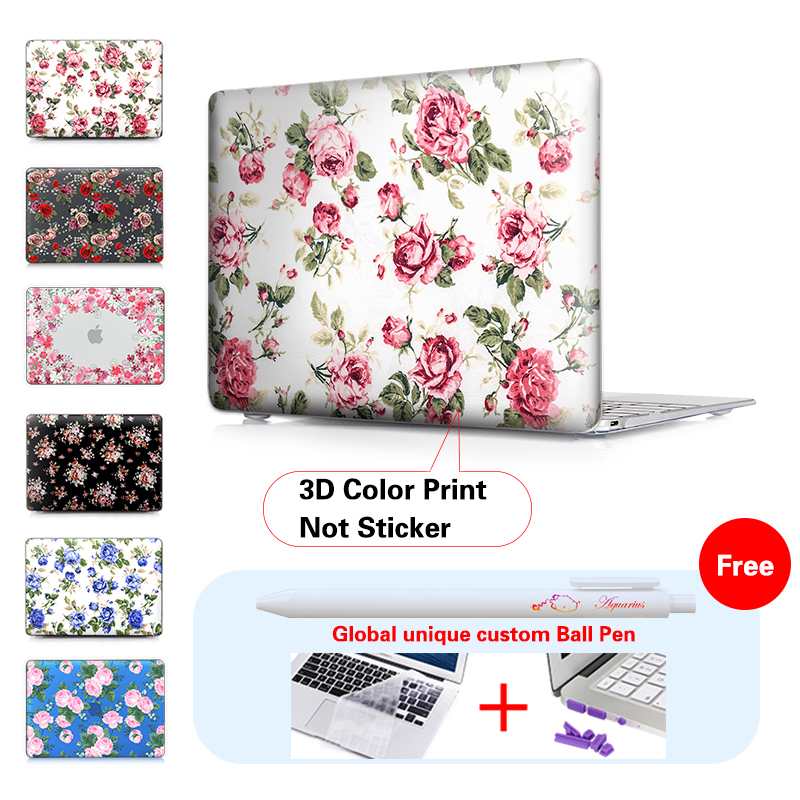 Super Fashion Roses Print Laptop Case For Mac Apple Macbook Pro 13 15 Air 11 New 12 Retina Notebook Bag Free Keyboard Cover In Bags Cases From