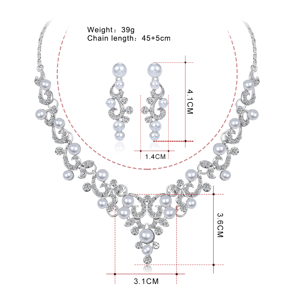 8ca369362e Wedding Jewelry Sets Fashion Crystal Bridal Jewelry Set For Women Choker  Necklace Earring Imitation Pearl Wedding Decoration-in Bridal Jewelry Sets  from ...