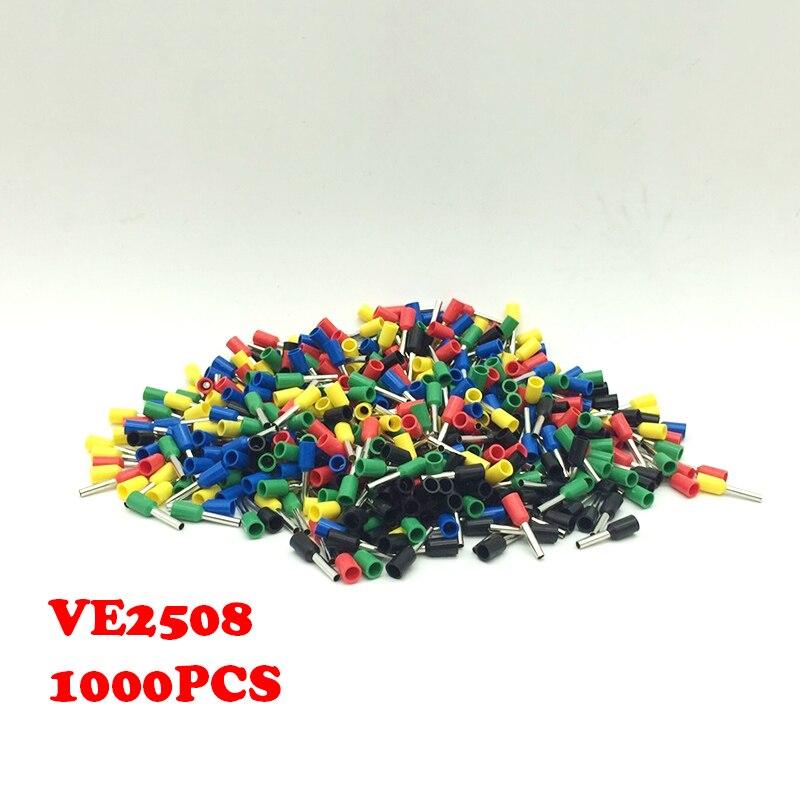 1000pcs VE2508 European terminals Needle terminal type pipe terminal tubular terminal pin E2508 mail bag