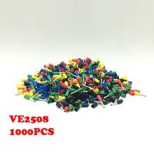 1000 шт. VE2508 Европейский клеммы иглы тип «терминал» трубы клеммные трубчатые Контактный Терминал E2508 mail bag
