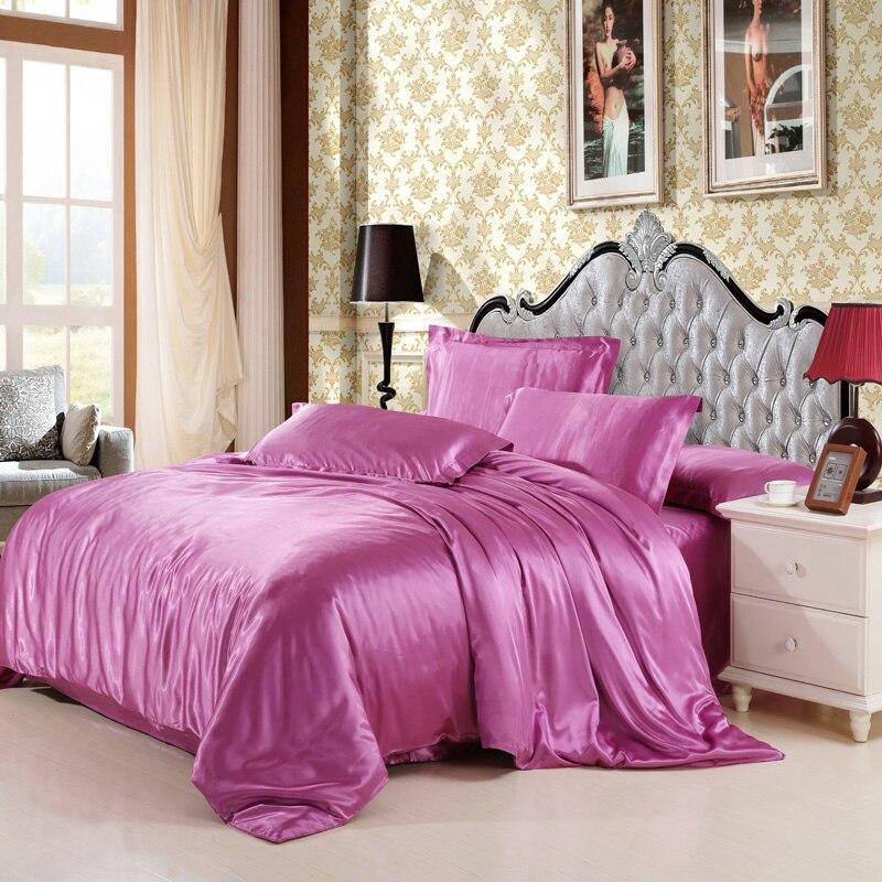 mitation silk quilt red satin sheets cotton solid satin duvet cover set
