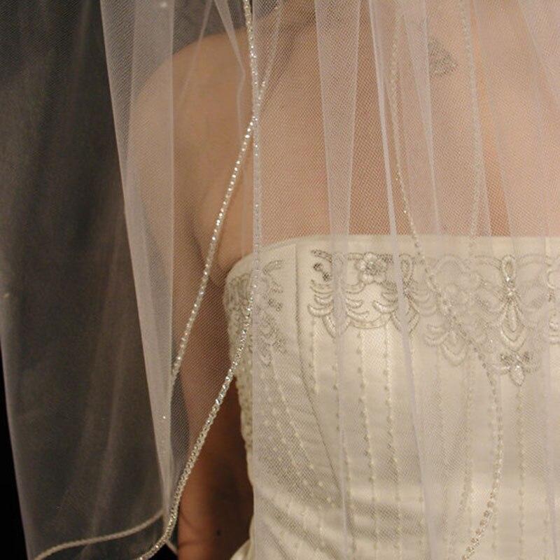 Veu De Noiva 2 Layers White Ivory Wedding Veil Fingertip Length Rhinestones Edge Bridal Veil With Comb
