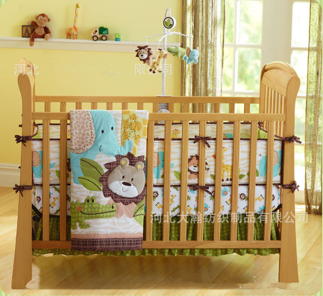 Promotion! 7pcs Embroidery Lion crib bumper sets cartoon cot baby bedding sets,include (bumpers+duvet+bed cover+bed skirt)