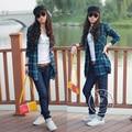 2016 Primavera de médio-longo moda lixado plus size camisa xadrez feminino camisa slim-manga longa das mulheres