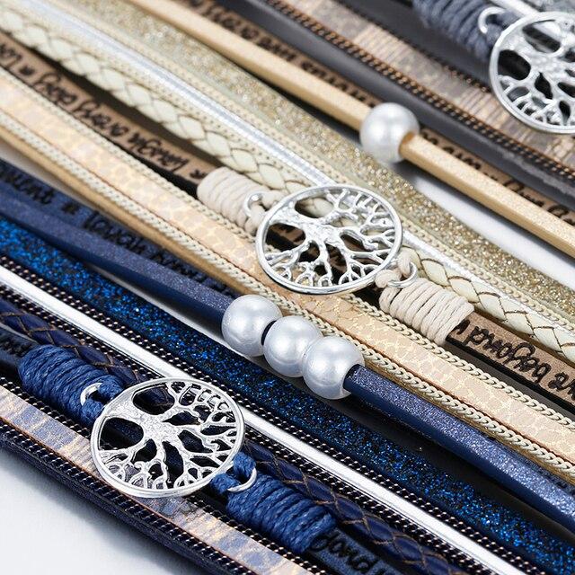 ALLYES Leather Bracelets Tree of Life Ladies Bohemian Multilayer Wide Wrap Bracelet 4