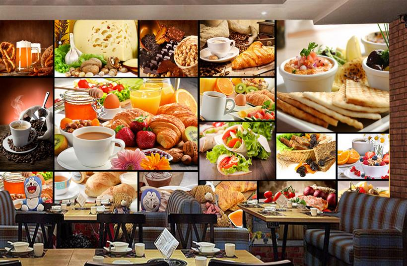 3d behang voor kamer europese brood gebakken dessert thee cafe