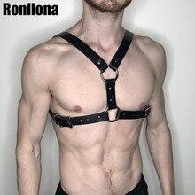 Harness Leather Men Garter Belt Suspender Body Bondage Cage For Sexy Shoulder Punk Goth Bdsm Belts Male Rave