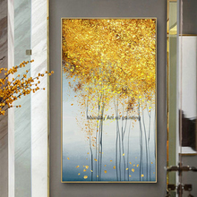 Wall art new Hand painted landscape gold trees oil paintings large abstract wall Decoracion Cuadros duvar tablolar