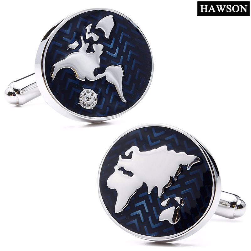 HAWSON Classic Style Cufflinks World Map Silver with Navy Blue Cuff Links for French Cuffs/Shirts Garment Accessory Gift for Men