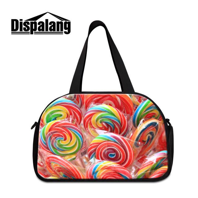 Dispalang bolsas de dulces de frutas de impresión portátil de viaje equipaje grande capacidad unisex hombro mujeres impermeables del bolso del equipaje de viaje