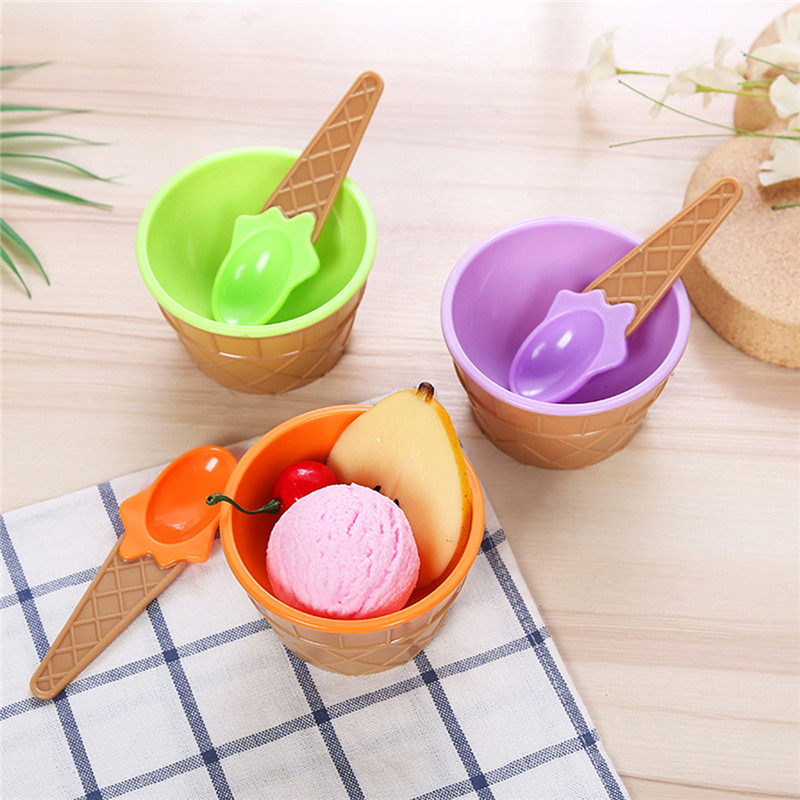 Ice Cream Bowls+ Spoon Baby Bowls Plates Ice Children's Tableware Food Containers Cups Cream Bowls Spoons Dinnerware Kids Dishes