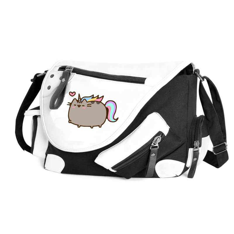 Anime Neko Atsume Unicorn Cat Backyard Handbag Canvas Casual Zipper Boys Girls Shoulder Bag Crossbody Bags School Messenger Bag