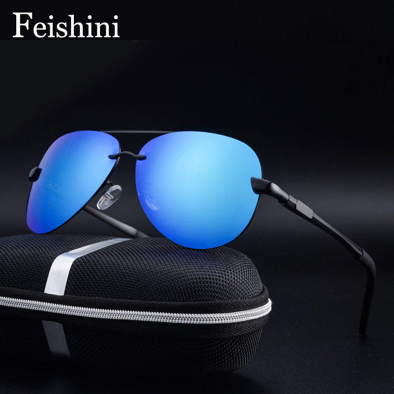 FEISHINI P0761 UV Protection Female Sun Glasses Aviation Clear Polaroid Lens Driving Aluminum Polarized Sunglasses Men Blue ...