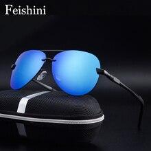 FEISHINI P0761 UV Protection female SUN Glasses Aviation Clear Polaroid Lens Driving Aluminum Polarized Sunglasses Men Classic