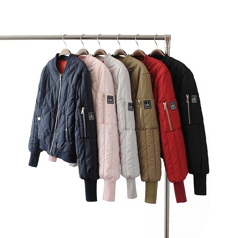 cacfa1d7e13 Женская зимняя армейская зеленая летная куртка-бомбер короткая куртка Осень Женская  Повседневная стеганая Базовая куртка пальто одежда же.