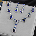 Elegant Design Royal Blue Simulated Diamond Engagement Party Classic Long Waterdrop Necklace Earrings Jewelry Set For Women J152