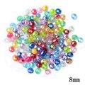 8mm Color Transparente Corte Facetado Perlas de Agua 100 unids/lote Decoración De Bolas De Plástico Del Grano Del Agujero Para Los Niños DIY de La Joyería Al Por Mayor haciendo