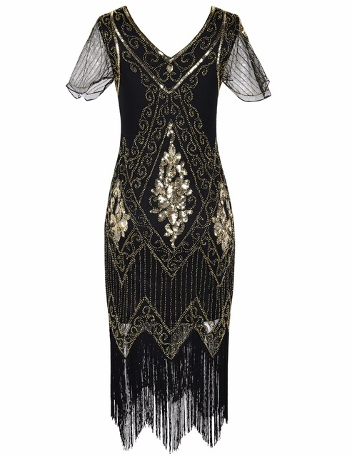 Prettyguide Women S 1920s Great Gatsby Dress Sequin Art Deco Fler With Sleeve Party Tail