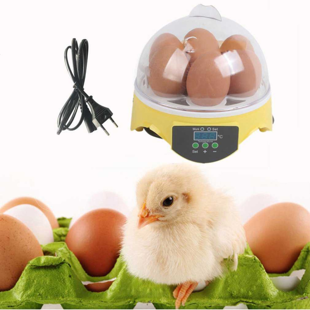 7 Eggs Digital Incubator Automatic Poultry Ducks Chicken Eggs Hatcher Machine 110V 30W EU Plug With Temperature Control System