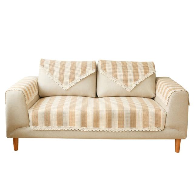 Cotton Thread Woven Stripe Sofa Cover For Living Room Nordic Simple Style  Small Fresh Plain Sofa