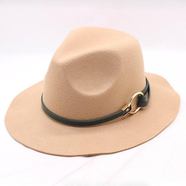 9baadba4f08 Fashion Women Wool Felt Trilby Fedora Hat with Leather Belt Winter Autumn  Lady Wide Brim Church