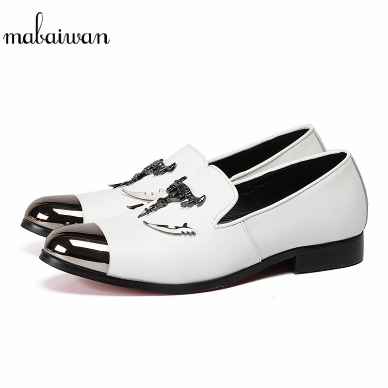Mabaiwan Skull Buckle Men White Loafers Casual Shoes Men Breathable Slippers Smoking Wedding Dress Shoes Handmade Party Flats ovxuan metal skull buckle handmade men ankle shoes punk party dress loafers glitter bright sequins men flats casual rivets shoes