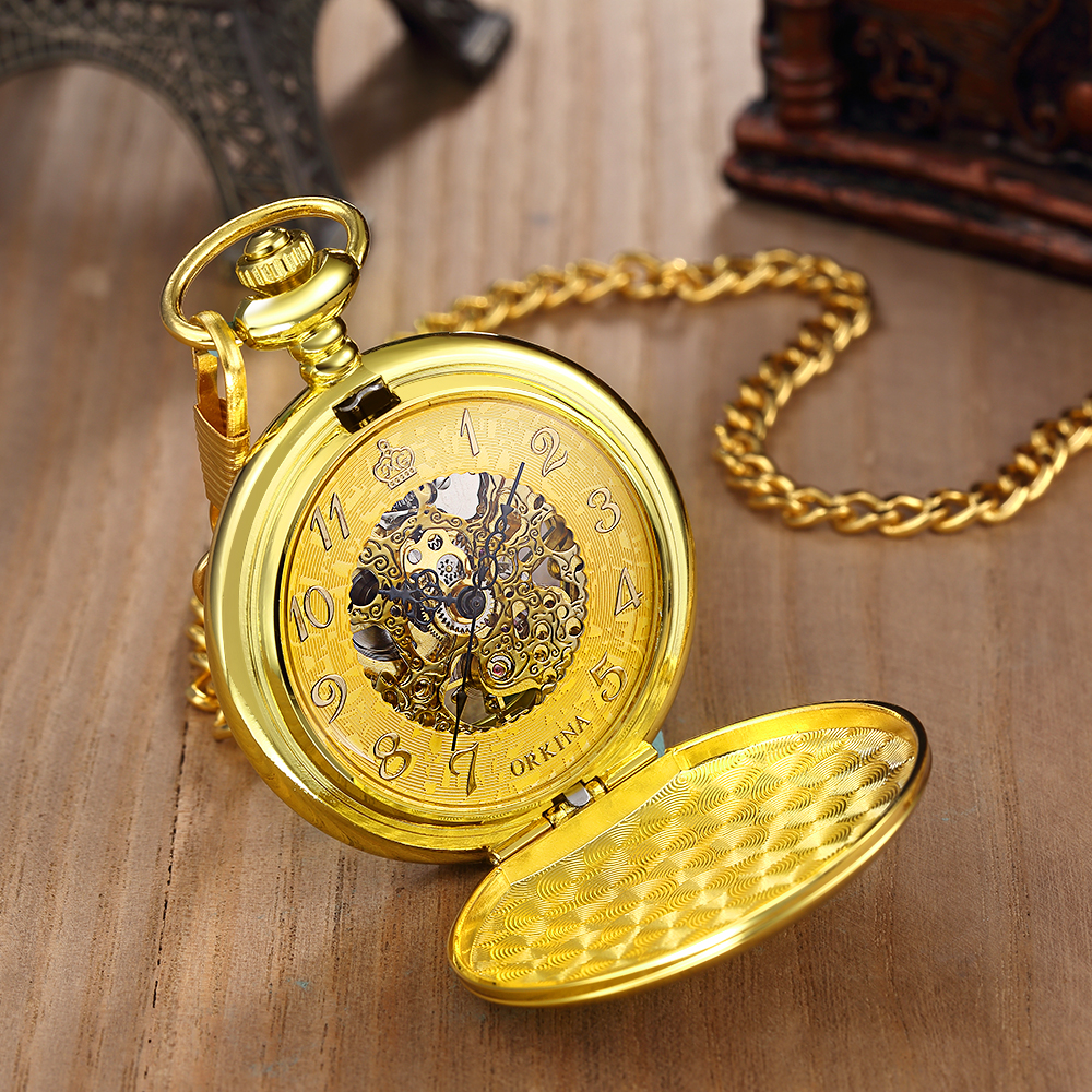 MG. ORKINA Retro Design Pocket Watch Removable Chain Skeleton Dial Mechanical Glossy Case Golden Fob Watch