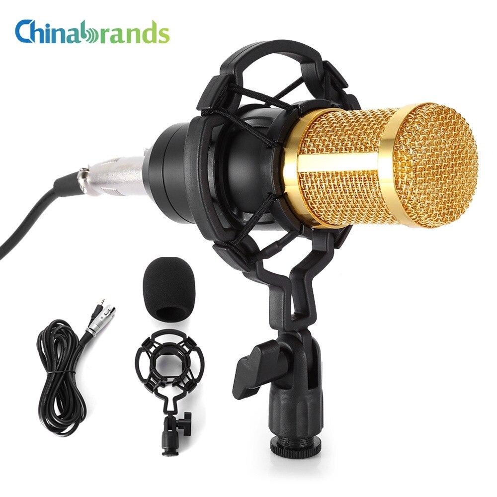 LEIHAO Verdrahtete Kondensator Tonaufnahme Mikrofon Microfone W/Shock Mount für Chatten Gesang Karaoke PC Laptop 4 Farben