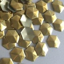 50pcs-1440pcs 10mm Gold Hexagonal Shape Hot Fix Studs Flat Back Iron on  Rhinestuds Heat Transfer DIY For Garments Accessories 75c6080b0c23