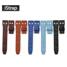 22mm Cowhide Genuine Leather Watchband Rivet Watch Band Butterfly Deployment Clasp Watch Strap For IWC Big