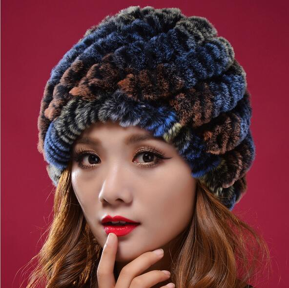 Promotion ! Russian Fur Hat Real Rex Rabbit Knitted Women's Hats Winter Thermal Pineapple MS-22