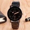 Venta caliente Estilo Clásico Coincide Con Reloj de Pulsera Negro/Beige Dial Stainless Steel Band Correa Simple Reloj de Cuarzo Ocasional