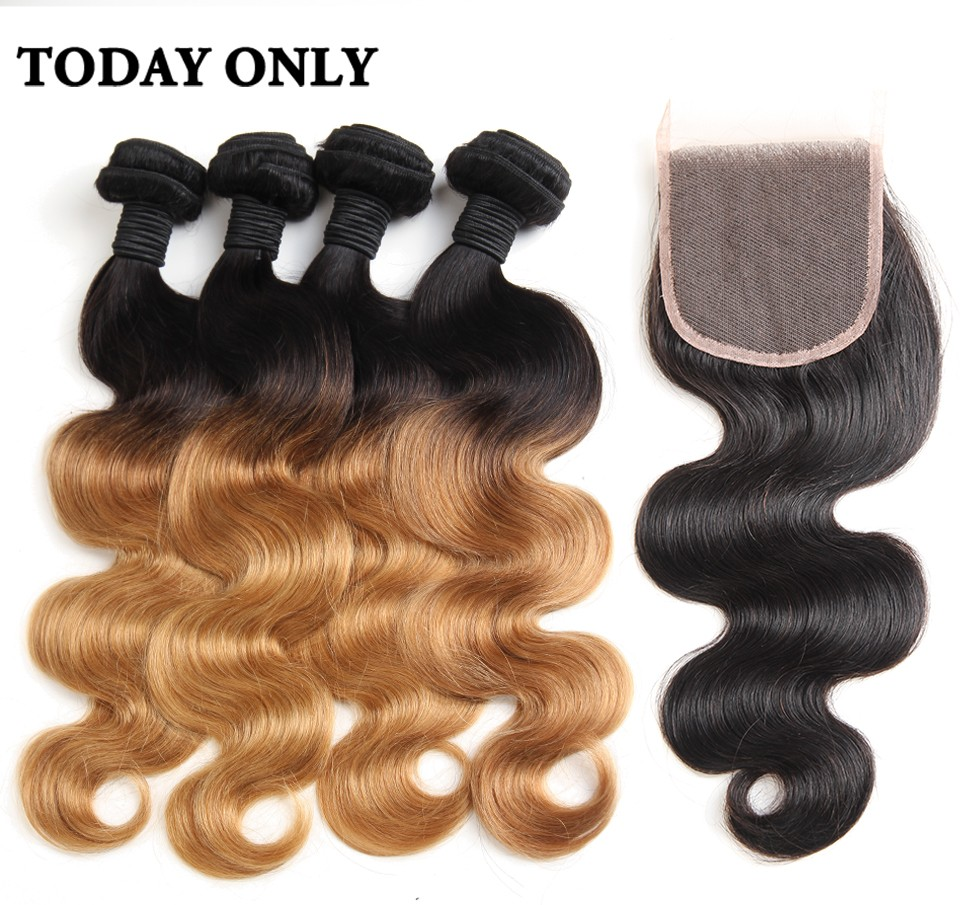 ombre human hair with closure 05